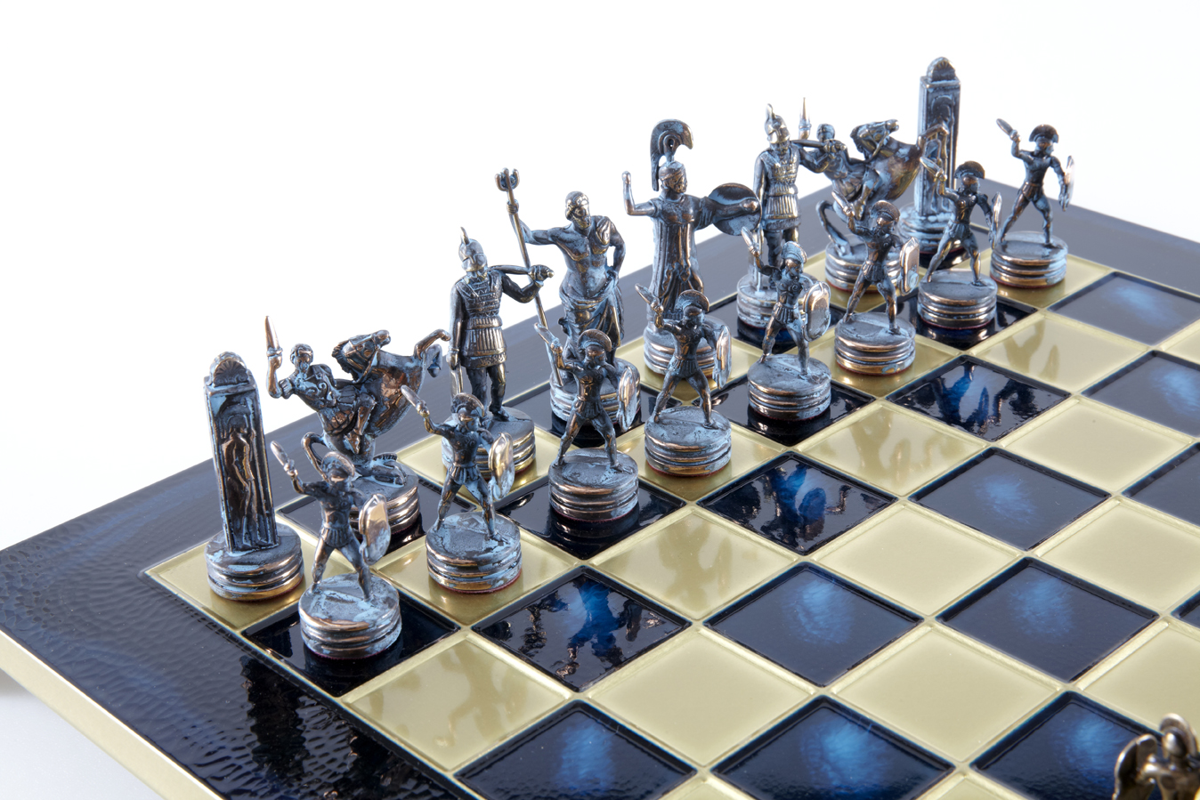Greek Mythology chess set with blue-bronze chessmen/ Blue chessboard 36sm