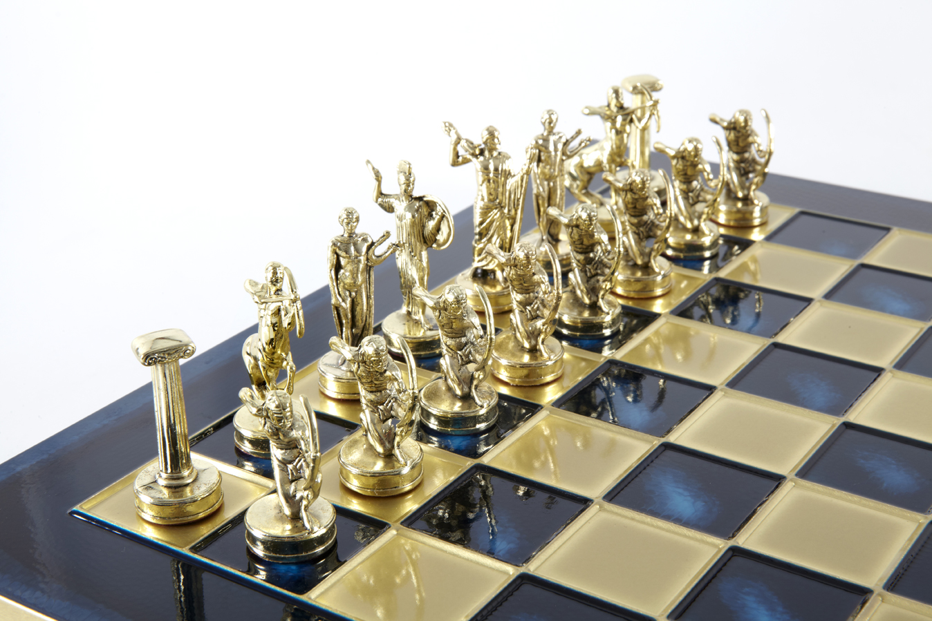 Labours of Hercules chess set with gold-silver chessmen/Blue chessboard 36 sm