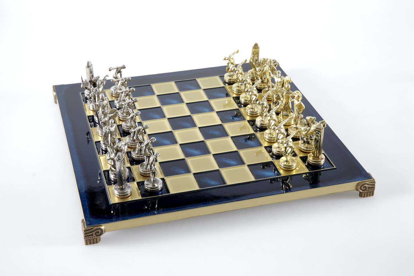 Discuss Thrower chess set with gold-silver chessmen/Blue chessboard 36 sm