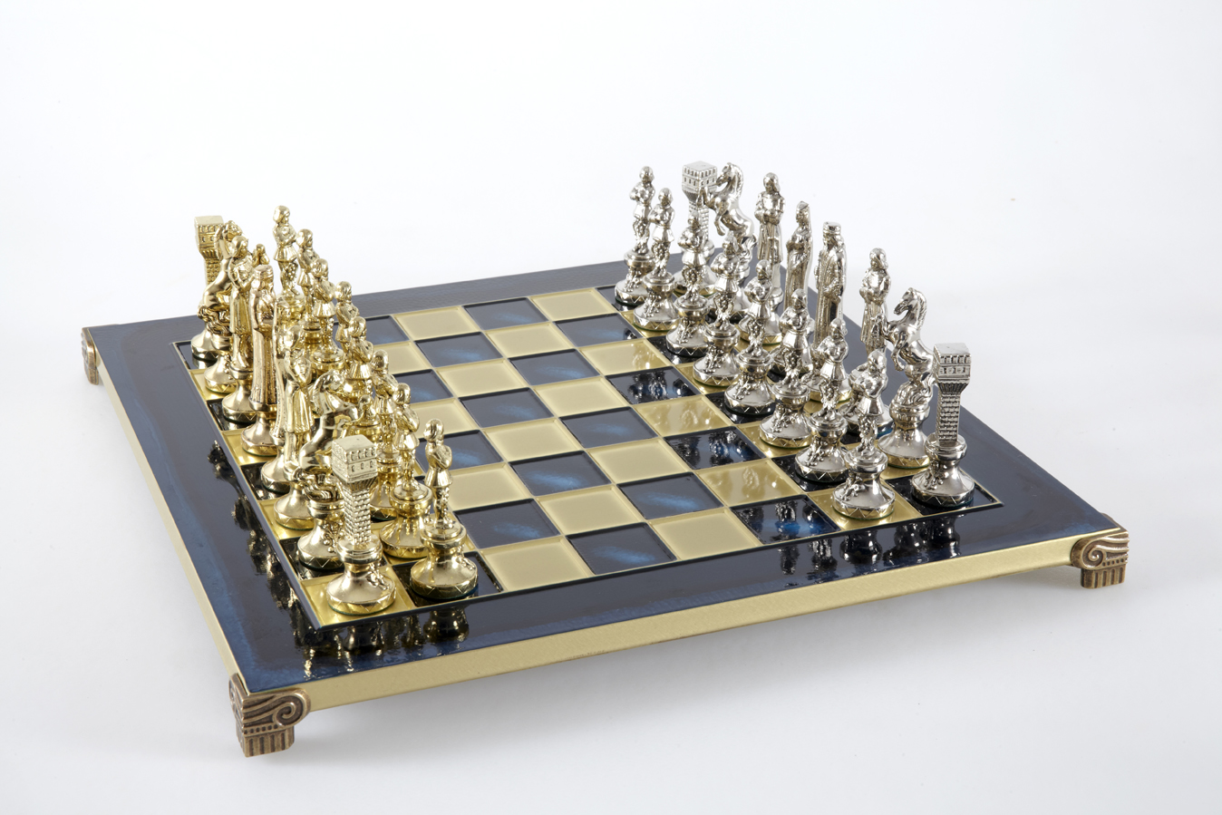 Renaissance chess set with gold-silver chessmen/Blue chessboard 36 sm